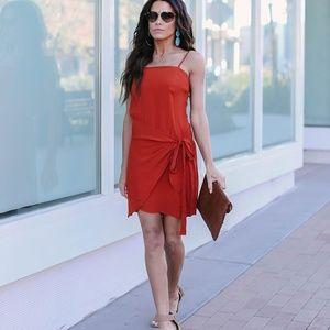 Vici Orange Dress with wrap skirt